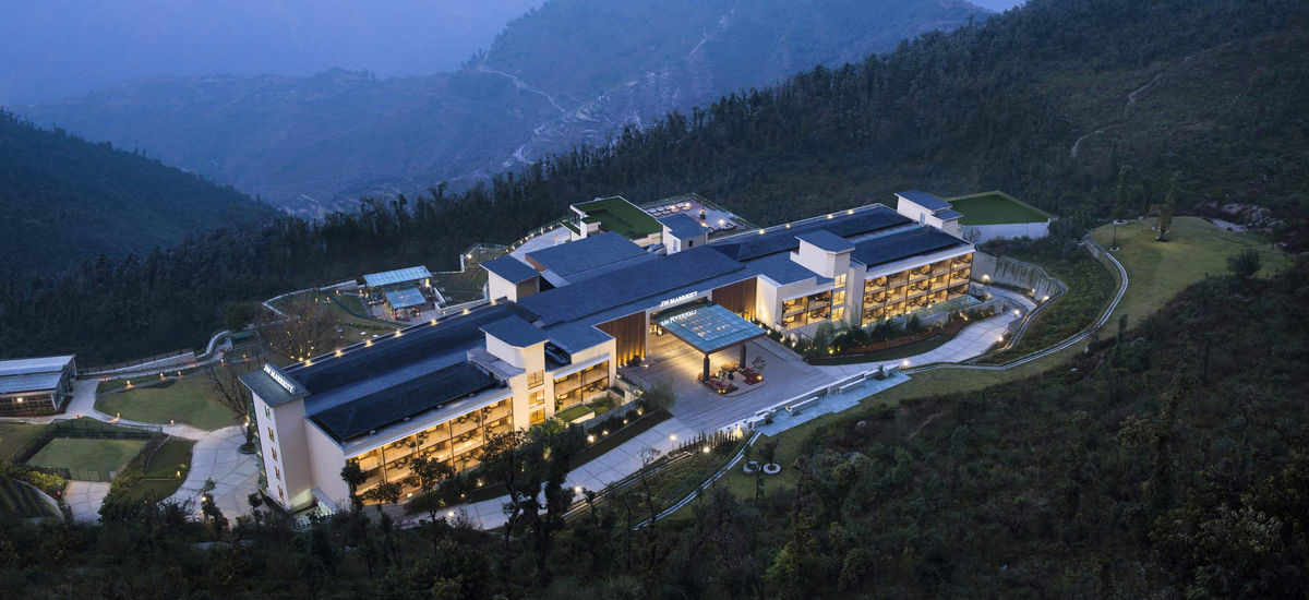 Destination wedding in Summer: Ariel view of a 5* property in Mussoorie.