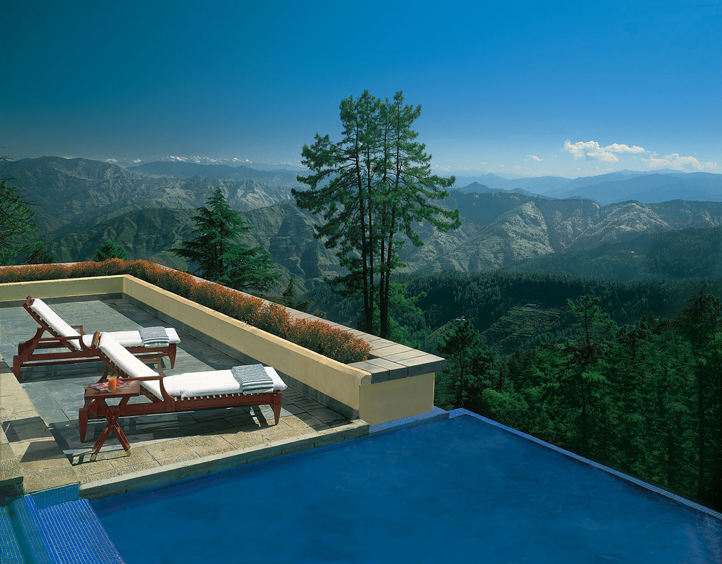 Destination Wedding in Summer: Mountain view from the poolside of one of the 5* Hotel in Shimla.