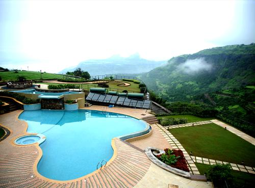 Destination Wedding in Summer: Pool side view of a popular resort in Lonavala.
