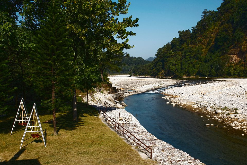 Destination Wedding in Jim Corbett; River Kosi flowing through the Property