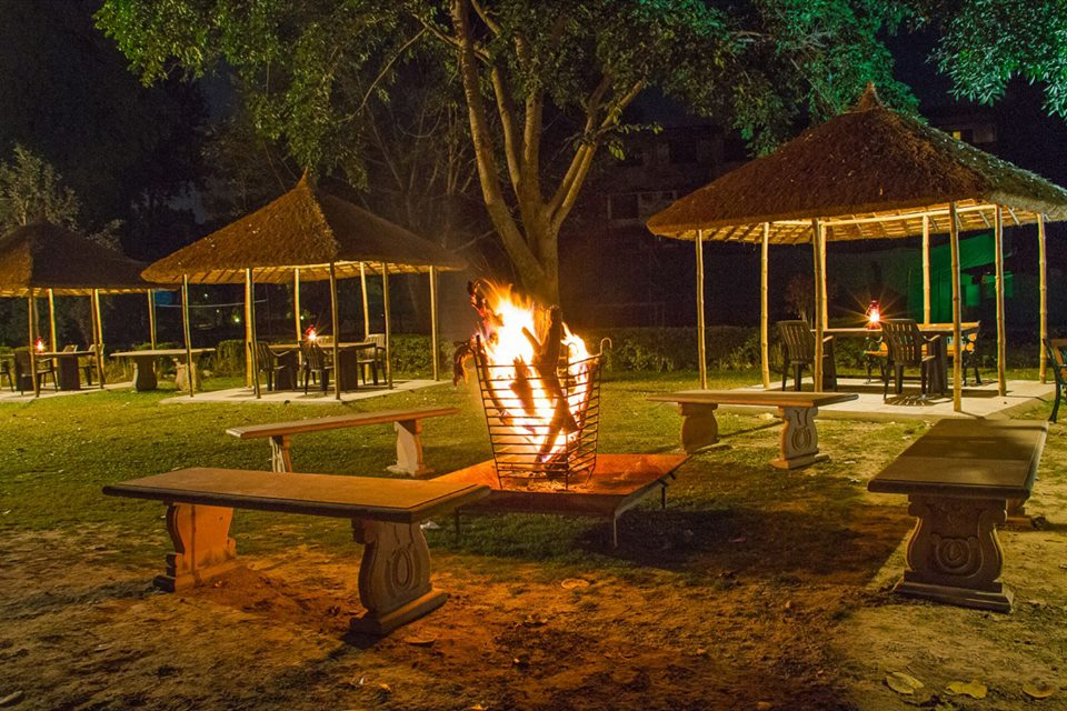 Destination Wedding in Jim Corbett; Open air Lounge of the Property