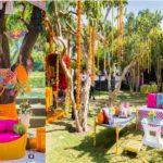 Mehendi: Bridal seating, guest seating, prop decor