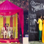 Mehendi: Bridal seating, floral decor, photobooth