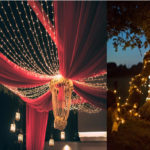 Reception: Drapes, fiery lights, lanterns