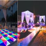 Sangeet: DJ, Dance floor, canopies, seating, lighting
