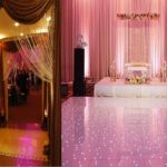 Sangeet: DJ, Arch, Bride & groom seating, dance floor, seating, lighting
