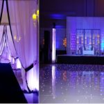 Sangeet: DJ, Dance floor, bride & groom seating, backdrop, lighting